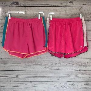 2 Pink Victoria's Secret Running Shorts Size Large